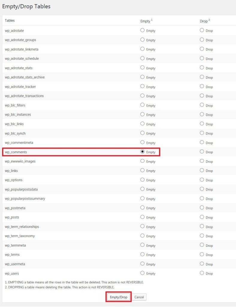 WP-DBManager 大量のコメントを一括削除02